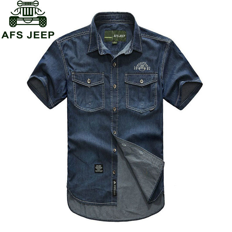 Plus Size XXXXXL Summer Mens 100% Cotton Denim Dress Shirts Color Short Sleeve Shirts Casual Deep Blue Man Brand CLOTHES 5008