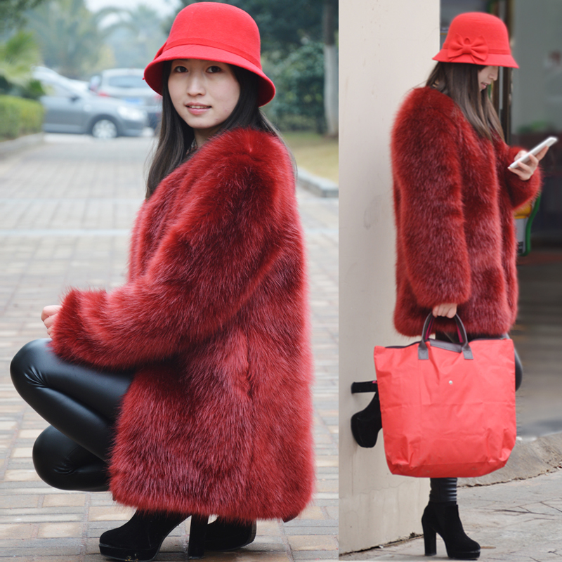 Aliexpress.com : Buy Warm Winter Fur Coat Women's Long Wine Red ...