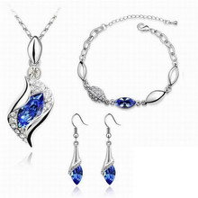 Top Quality Elegant luxury design new fashion Gold plated colorful Austrian crystal drop jewelry sets women gift