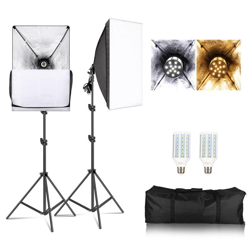 Photography Softbox Lightbox Kit 2 PCS E27 LED Photo Studio Camera Lighting Equipment 2 Softbox 2 Light Stand With Carry Bag
