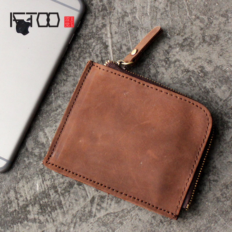 AETOO Handmade leather short paragraph small wallet male purse wallet female head layer leather mini Korean version of the coin
