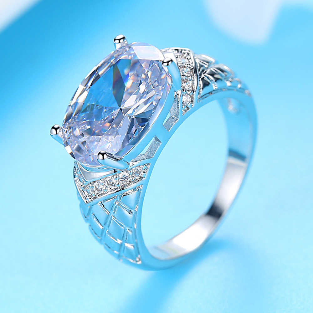 Dovolov Fashion Silver Crystal Wedding Ring For Women Crystal Zircon Stone Statement Rings For Women Women's Jewelry B502