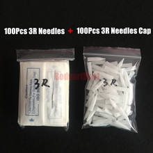 HOT SALE 100Pcs 3R Needles And 100Pcs 3R Needles Caps For Permanent Makeup Machine