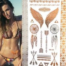 Wild Golden Flash Tattoos Wing Feathers Jewelry Sticker Tattoo Metallic Large Temporary Tattoo Skin Beauty Sticker 10x21cm