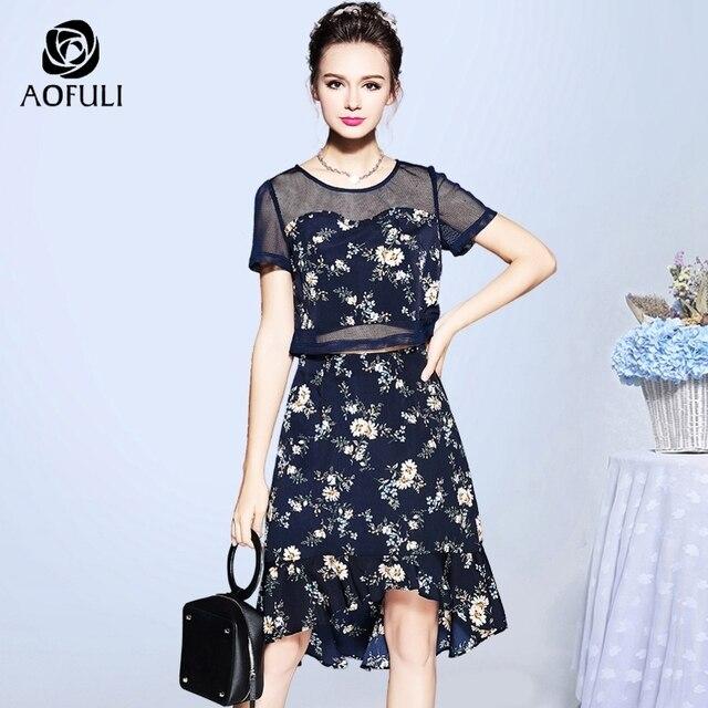 e3655e7d119 AOFULI S- XXXL 4XL 5XL 2 Piece Skirt Set Women Plus Size Floral Print  Summer Hollow Out Short Outfit Trumpet Skirt Twinset C2927