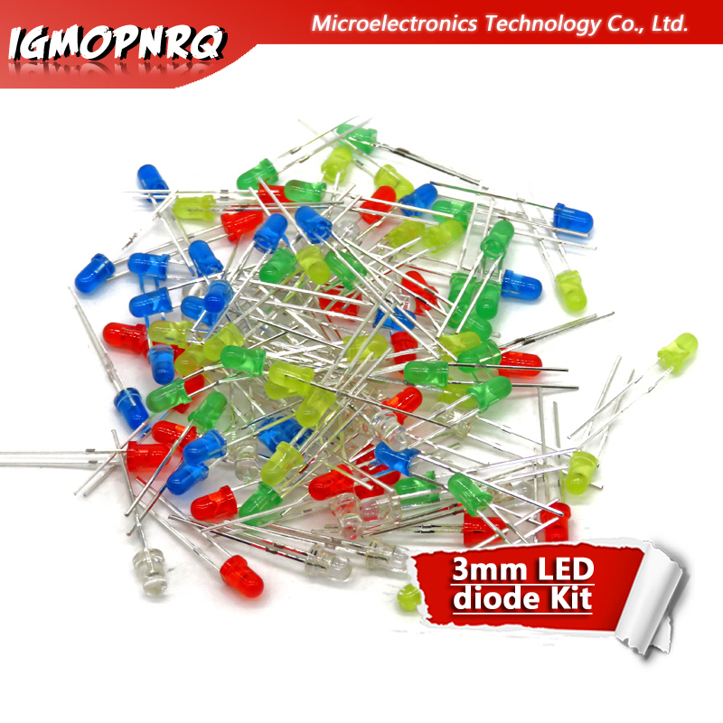 5Colors*20PCS=100PCS 3mm LED Diode Light Assorted Kit Red Green Yellow Blue White Mixed Color Light LED MIX