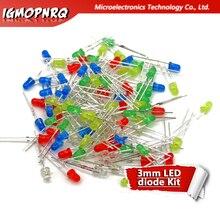 5 цветов s* 20 шт = 100 шт 3 мм светодиодный диодный светильник Ассорти комплект красный зеленый желтый синий белый смешанный цвет светильник светодиодный микс