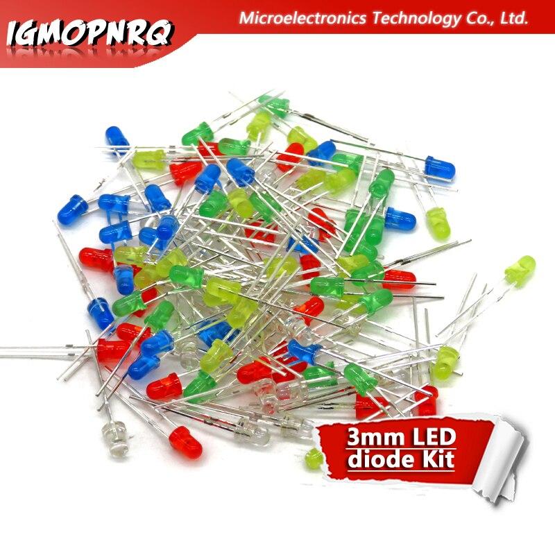 5Colors * 20 pièces = 100 pièces 3mm lumière de diode LED Kit assorti rouge vert jaune bleu blanc mélange de LED de lumière de couleur mélangée
