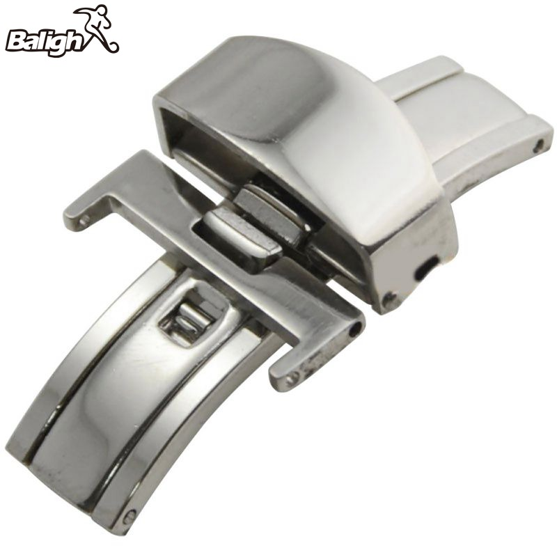 Replacement Opposite-pull Stainless Steel Butterfly Clasp Wristwatch Buckle Clasp Accessories 12/14/16/18/20mm