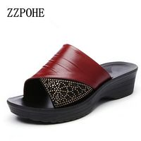 ZZPOHE Summer Mothers Red Slippers Leather Soft Bottom Women Slippers Slope With Casual Comfortable Fashion Ladies