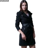 CHAOJUE fur collars woolen coat female British autumn and winter long blends womens PU belt patchwork pea coat free shipping