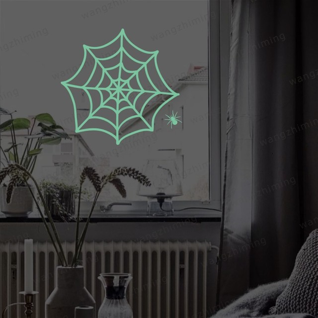 groothandel nieuwe lichtgevende cartoon diy spinnenweb sticker voor kinderkamer muursticker decoratie fluorescerende woonkamer interieur