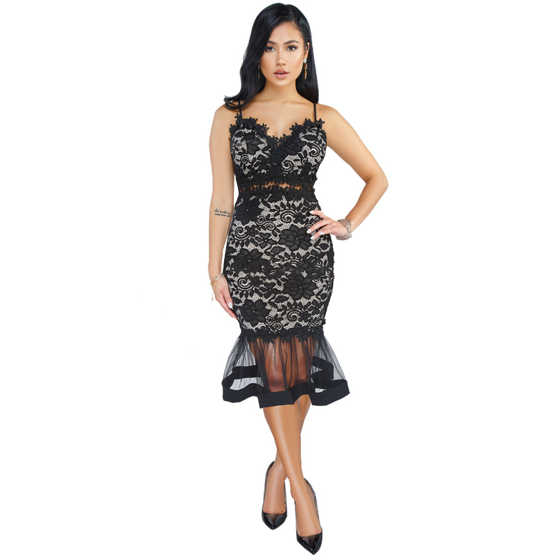 Us 1851 35 Offlszyows Sexy Black Floral Lace Dress Women Strap V Neck White Bodycon Midi Dress Summer Elegant Sheer Mesh Party Mermaid Dresses In