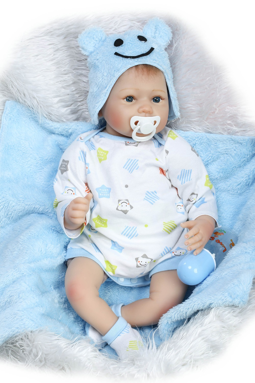 22 Bebe Boy Reborn Dolls For Children Gift Cloth Body Silicone Newborn Babies Fake Baby Bonecas