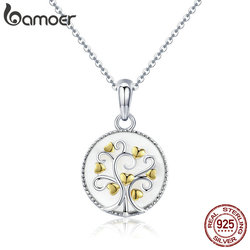 BAMOER Real 925 Sterling Silver Tree of Life Pendant Necklaces Women Gold Heart Tree Necklace Sterling Silver Jewelry SCN296
