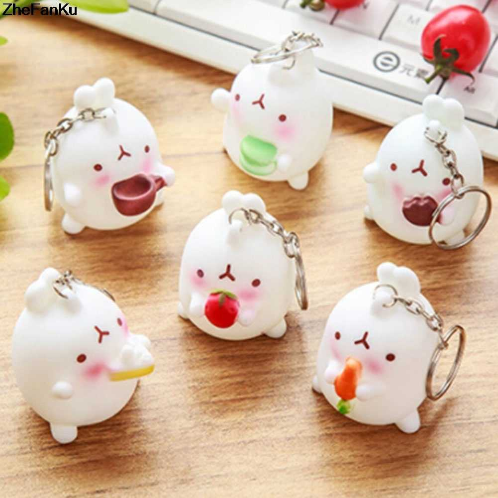 Cute Animal Ornaments Potatoes Rabbit Key Chains Korean Crafts Car Decoration Keychain Small Pendant Key Ring Jewelry Gift