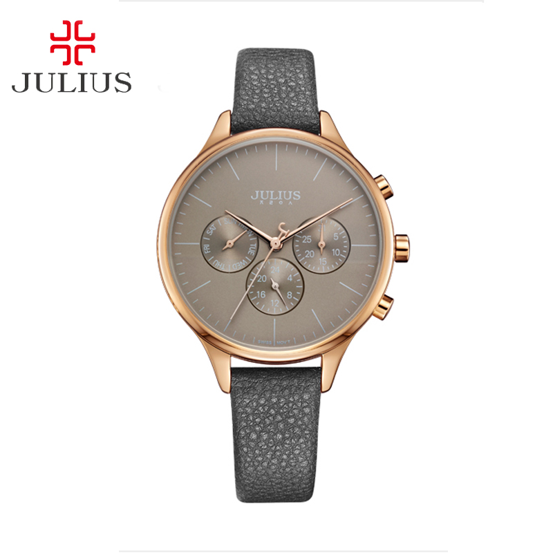 Julius Lady High Qual Leather Women's Watch Japan Quartz Fashion Casual Mov Fine Sport Hours  Birthday Gift  JA-952D real functions julius shell women s watch isa mov t hours clock fine fashion bracelet sport leather birthday girl gift box