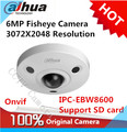 Dahua IPC-EBW8600 6MP 3072X2048 Resolution PoE WDR Panorama 360 Degree Fisheye Dome e-PTZ Network IP Camera support SD card