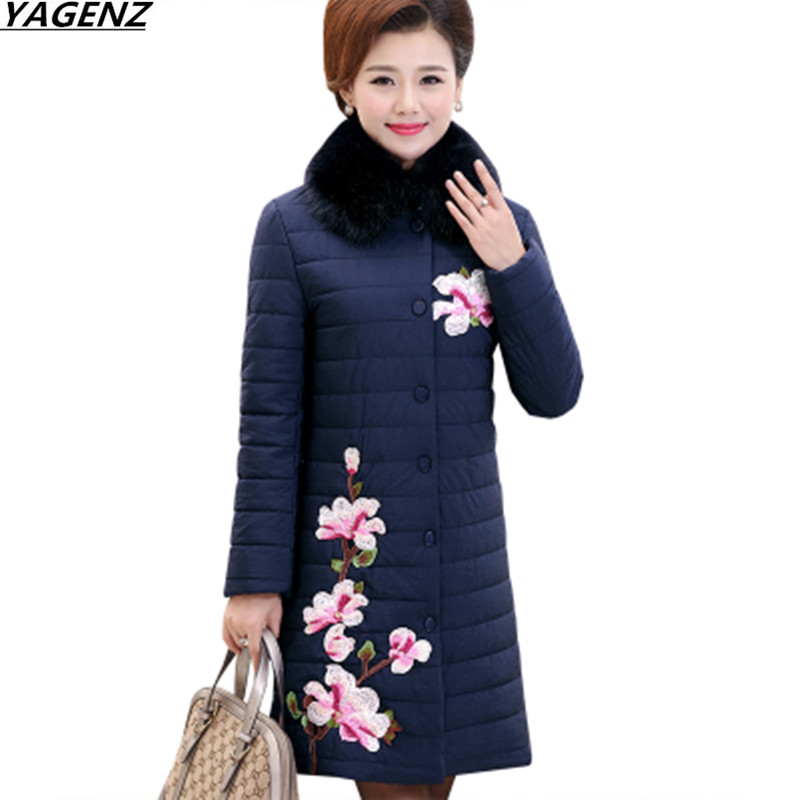 Female Basic Coats Winter Jacket Embroidery Down Jacket Coat Medium Long Outerwear Middle Aged Women Cotton