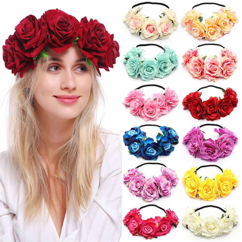 New Wedding Flower Crown Head Band Women Wedding Floral Head Wreath Bridesmaid Bridal Headpiece Female Flower Headband Dropship