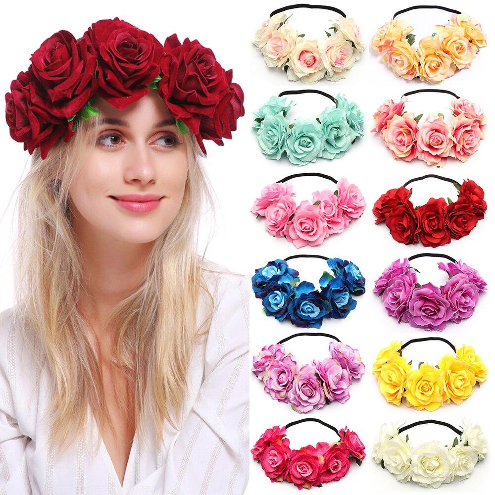 Nueva corona de flores para boda, corona de flores para mujer, corona de flores para dama de honor, tocado de novia, diadema de flores para mujer, envío directo
