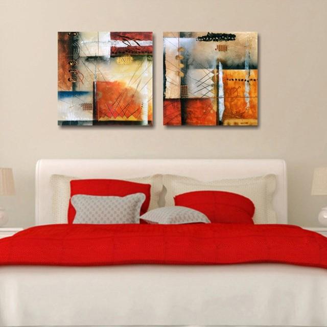 2 Pcs Artist Canvas Geometry Paintings Abstrato Quadro Painting Modular Pictures Retratos Da Parede Para Sala De Estar