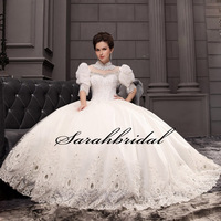 In Stock High Half Crystal Beaded Appliques Wedding Dress Bridal Gowns Real Sample Elegant Ball Gown
