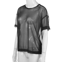 2018 Mesh Tee See-Through Women T-shirts Short Sleeve Perspective Shine Casual Women Tops Lady Vintage Blusa dropship Feb23