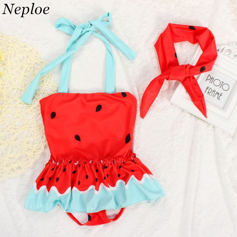 18c52c456d0 Neploe Newly Hot Sale Watermelon Printed Girls Bikini Funny Ruffles One-piece  Swimwear Kids Beach Swimsuits with Headband 41496