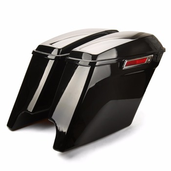 "5"" Extended Stretched Saddlebags With Keys For Harley road glide FLHTCU Extended Saddlebags Road King 2014-2018 vivid black"