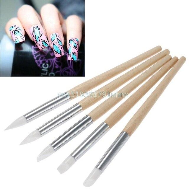 Pro. 5Pcs Nail Art Silicone Sculpture Pen Nail Art Pencils Salon ...