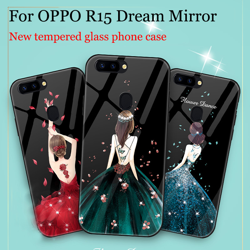 For OPPO R15 Dream Mirror case cover fashion Girls tempered glass back cover For OPPO R 15 Dream Mirror phone cases shell bags