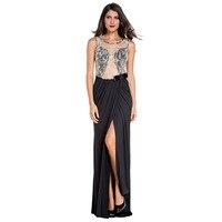 Gestickte Mesh Lace Front Wrap Maxi Kleid Frauen Schwarz Sexy Side Split Lange Formale Kleider Open Back Mermaid Party Kleid S6839