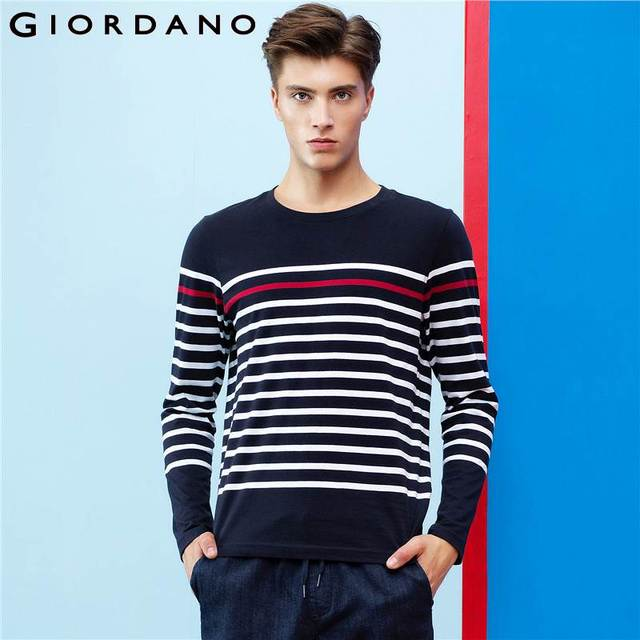591e6cc12c29 Giordano Men Striped T-shirt Ribbed Crewneck Tops Long-sleeves Pure Cotton  Heather Tee Shirt Fashion Young Hombre Tee