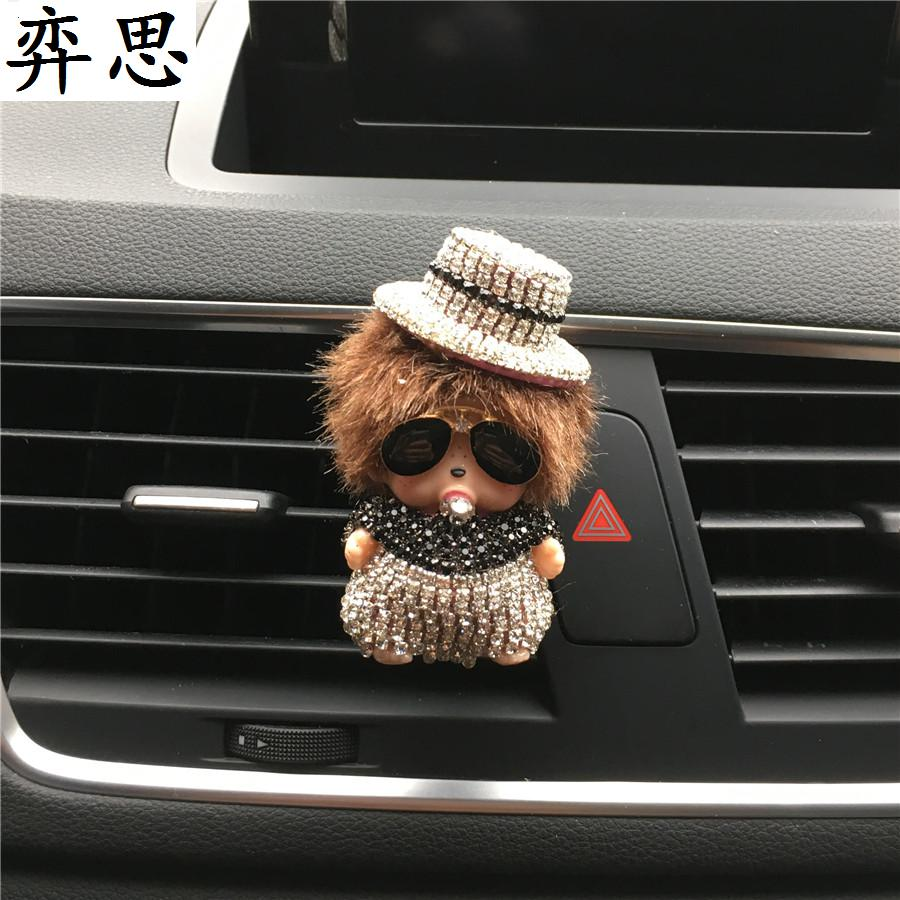 car air freshener Exquisite lady car styling Perfume Ornaments Lovely Kiki dolls Color diamond car perfume clip