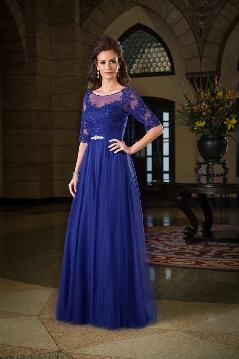 2018 New Fashion Appliques Lace Royal Blue With Half Sleeves Plus Size Evening Party Gown Godmother Mother Of The Bride Dresses