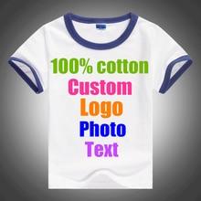 Patchwork Blank Kids Children Cotton Custom Logo Text Photo printed T shirt Cute Custom Logo Parents Child Slim Girl Boy T-shirt