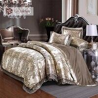 Liv Esthete Европейский роскошный коричневый Атлас жаккардовый Комплект постельного белья Кружева сторона пододеяльник плоский лист Королева