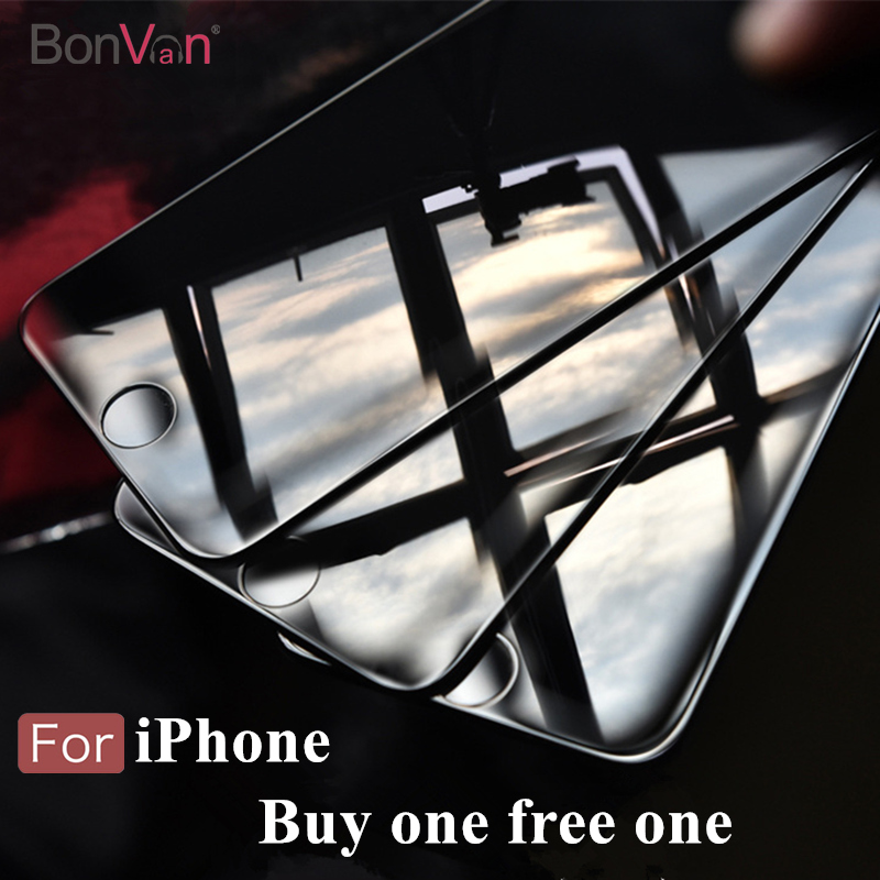 2 Pieces BONVAN For iphone 7 Screen Protector 3D soft edge full cover Tempered Glass For iphone 7 plus covering protection Film