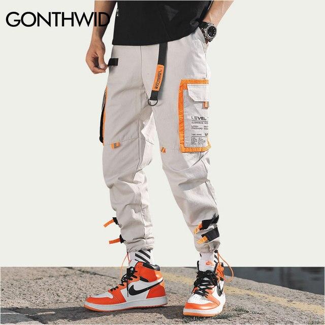 GONTHWID Çok Cepler Kargo Harem koşucu pantolonu Erkekler Hip Hop Moda Rahat Parça Pantolon Streetwear Harajuku Hipster Eşofman Altı