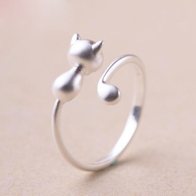 1 pc Silver Ring Sweet Cute Cat Kitty Ops