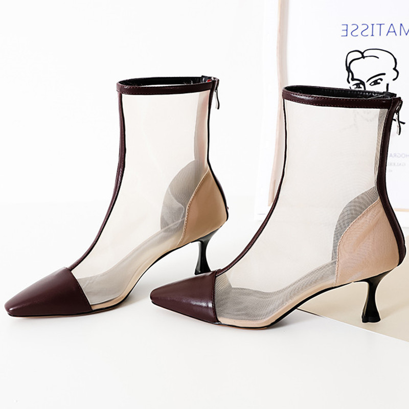 Transparent Women Boots Pointy Toe Stiletto Lady Pumps Zippers Sexy Shoes Woman Brand Design Short Booties Rome Chelsea Boots купить в Москве 2019