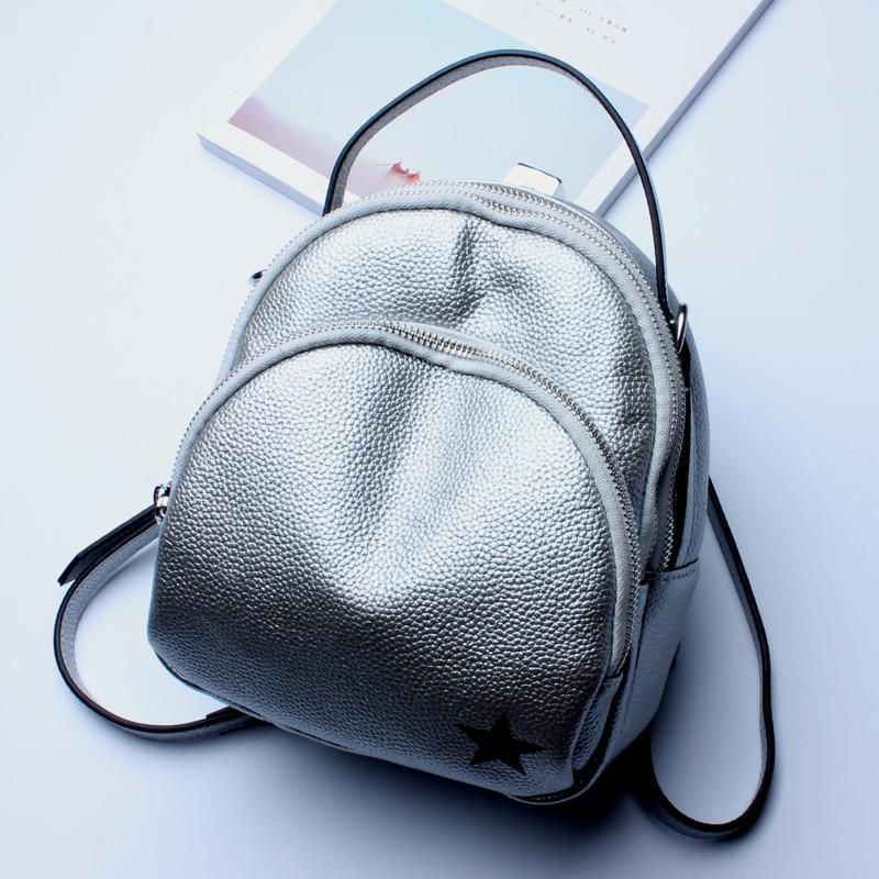 Genuine Leather Backpack Women Casual Mini Backpacks For Teenage Girls Lightweight Solid Bagpack Black Silver