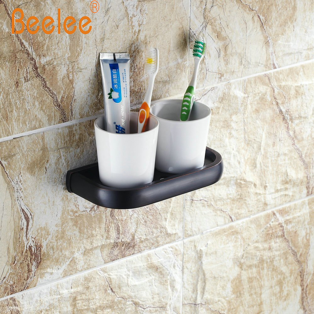 Beelee BA7408B bathroom cup holder Lavatory Double ceramic tumbler cup with toothbrush holder Wall Mount, Oil Rubbed Bronze
