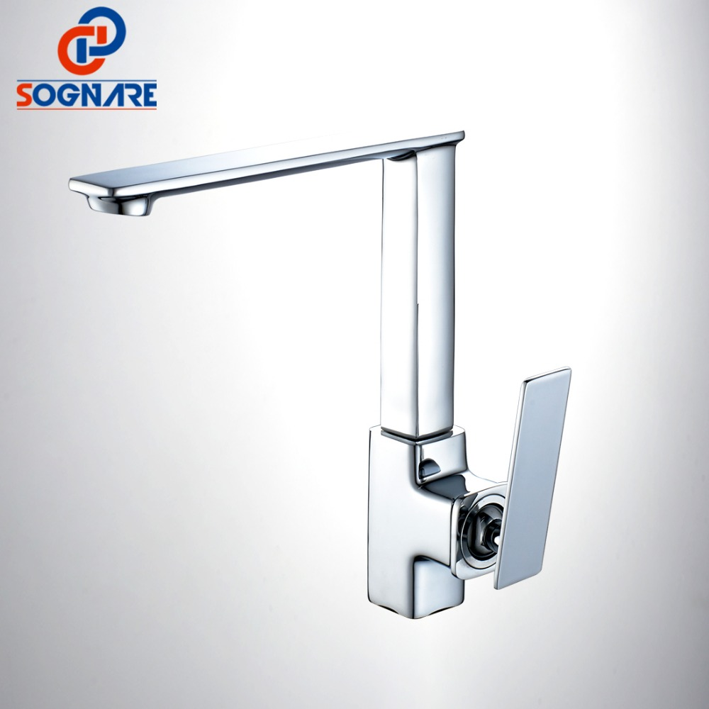 SOGNARE Wholesale And Retail Kitchen Faucet Cold and Hot Water Mixer Tap Single Handle 360 Rotation Kitchen Mixer Taps D2105 micoe hot and cold water basin faucet mixer single handle single hole modern style chrome tap square multi function m hc203
