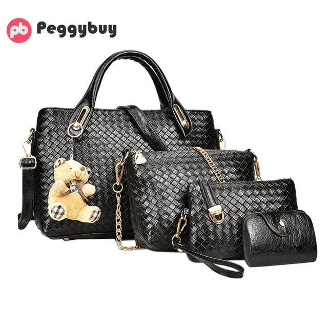 39fe53b38a81 New Luxury Women Handbags Emboss Plaid Bag 4pcs Set Composite Shoulder Bags  PU Leather Vintage Bear Designer Chains Bolsa Totes
