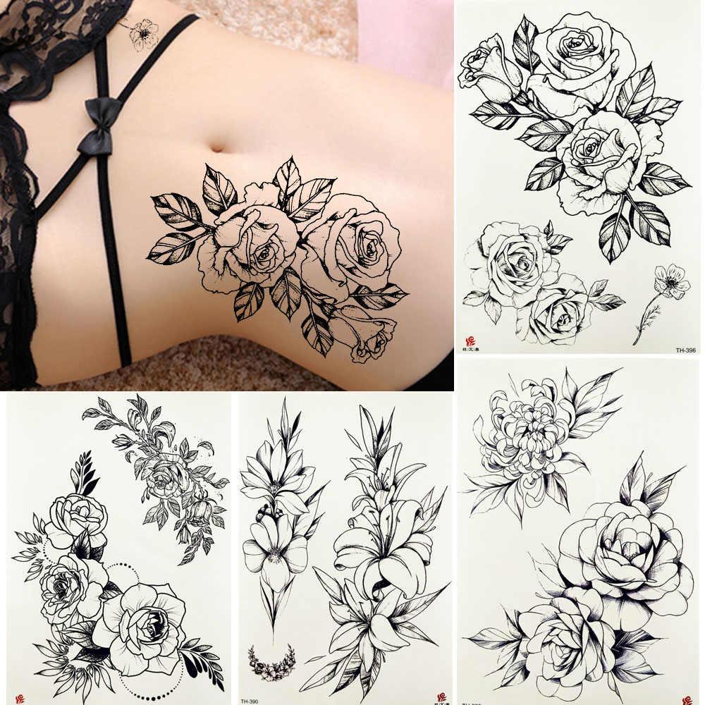 Yuran водонепроницаемый эскиз татуировки временные женские сексуальные тело талии