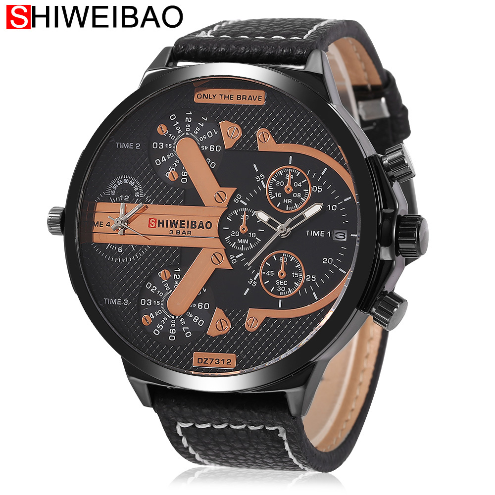 Mens Big Face Watches 2 Time Zone Leather Band Casual Japan Quartz Movement Wrist Watch Luxury  Male Clock Relogio Masculino brand oulm 9316b japan movt big face watches men triple time rose gold luxury analog digital casual watch relogio male original