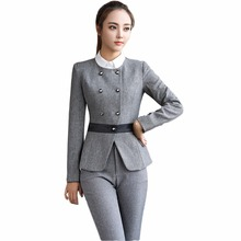 New black female formal pant suit for work S-4XL office uniform design blazer with trousers two piece set elegant trouser suits