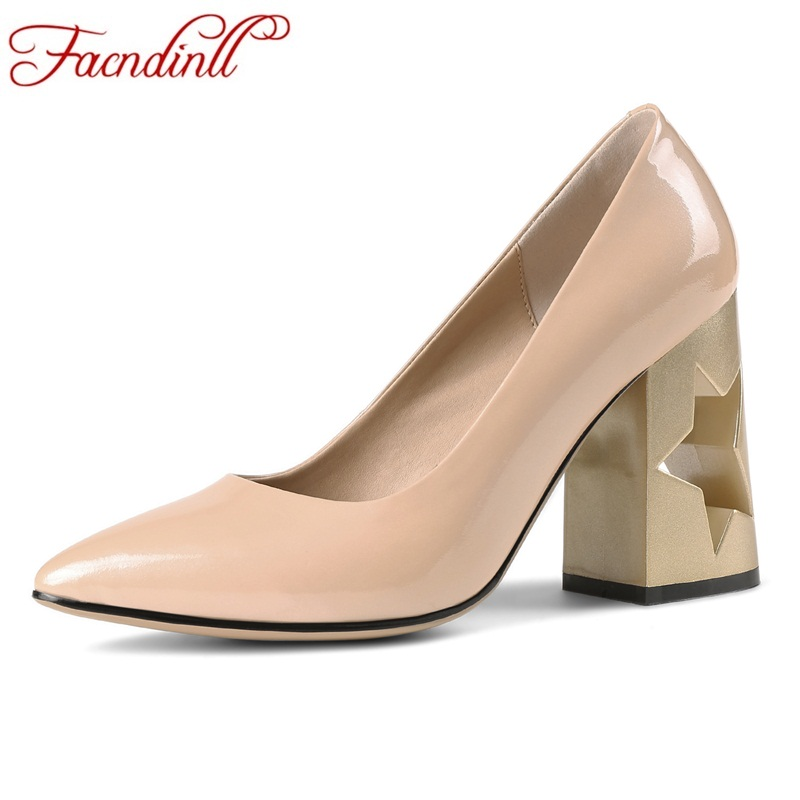 FACNDINLL new spring women pumps fashion genuine leather square high heels pointed toe shoes woman dress party office lady pumps цена